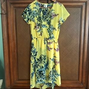Yellow floral faux wrap dress with flutter sleeves